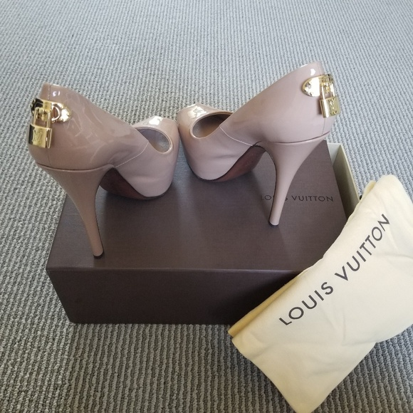 35295e5cc824 Louis Vuitton Shoes - Louis Vuitton Nude Oh Really Lock Peep Toe Heels